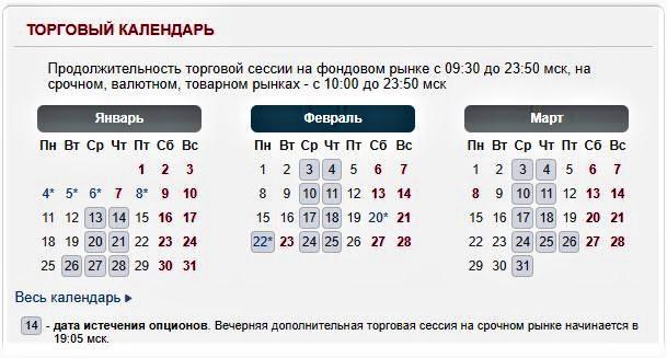 Торговый календарь